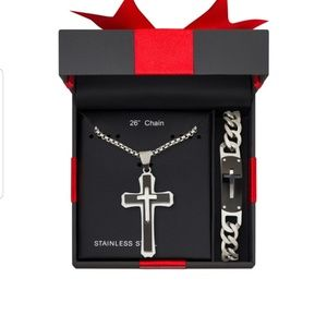 Other - NEW!🆕️ Mens Cross 2pc Necklace & Bracelet Set